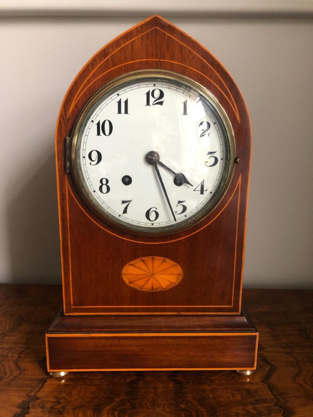 edwardian mahogany lancet top mantel clock