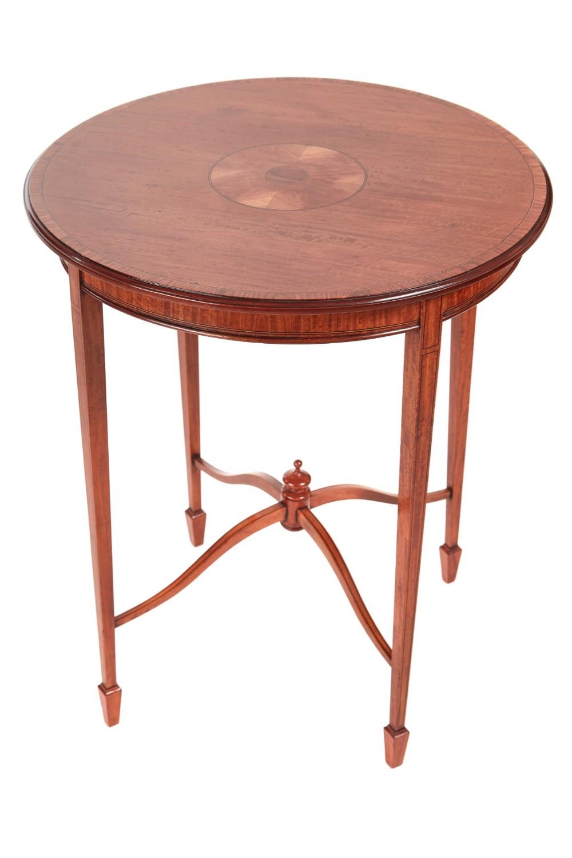 elegant edwardian inlaid satinwood round antique occasional table