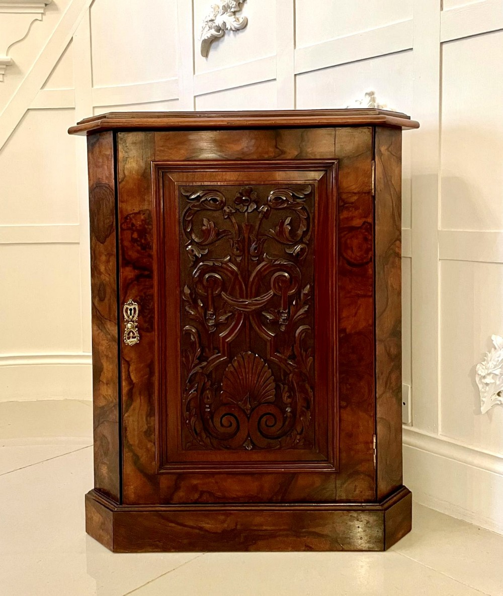 fine antique victorian burr walnut carved corner cupboard