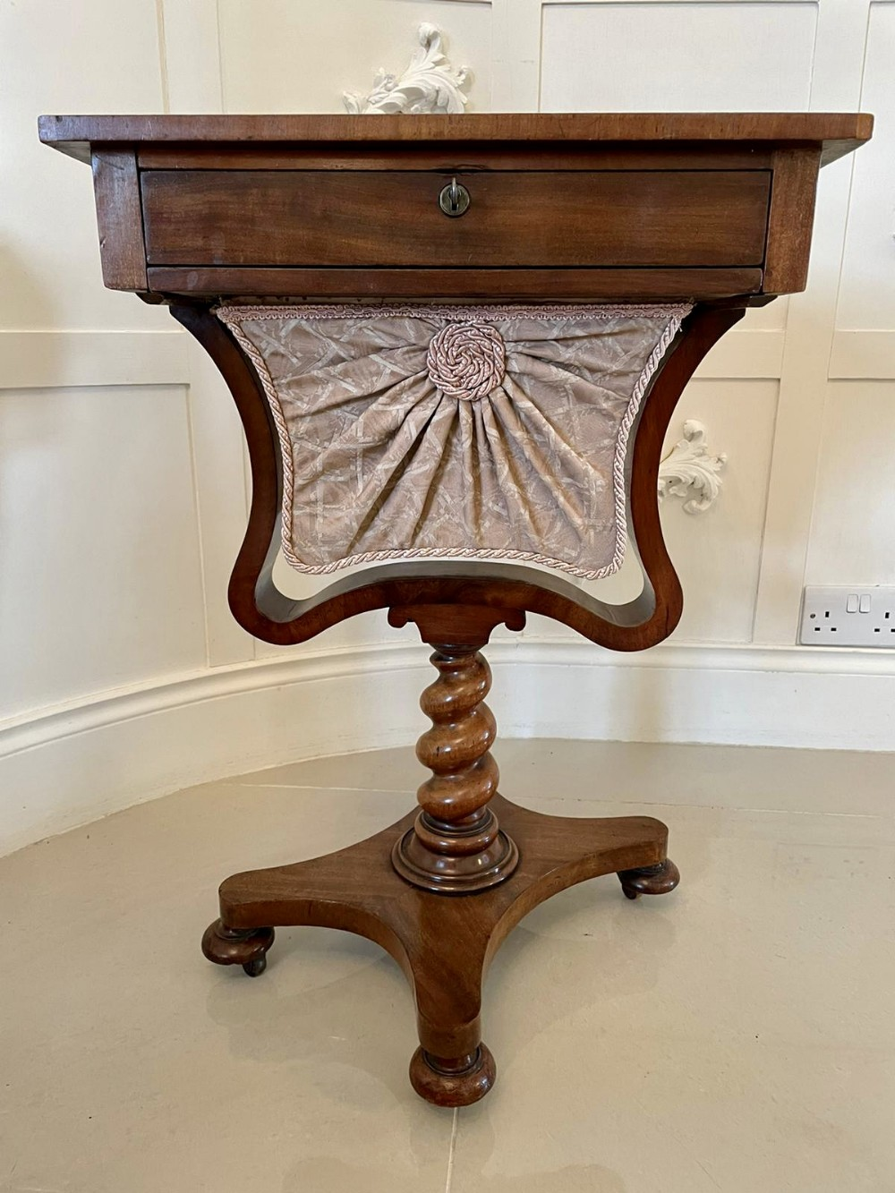quality antique freestanding william iv rosewood chess top sewing table