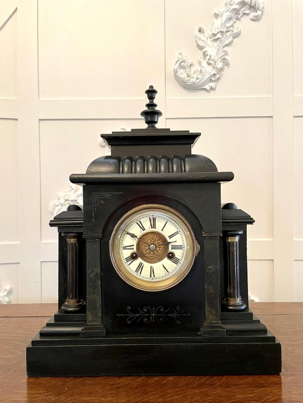 large antique victorian faux marble mantel clock