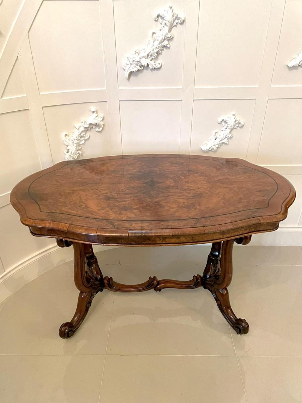 antique victorian burr walnut freestanding basket base centre table