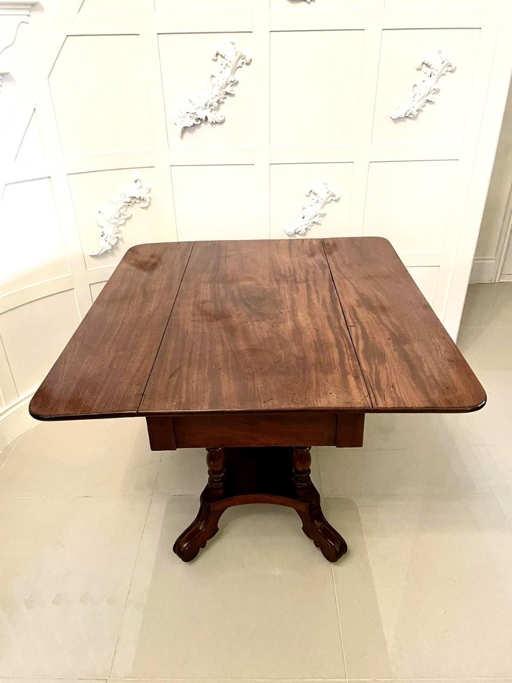 quality antique regency mahogany drop leaf centre table