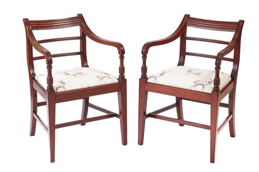 fine pair of antique george iii mahogany elbow desk chairs