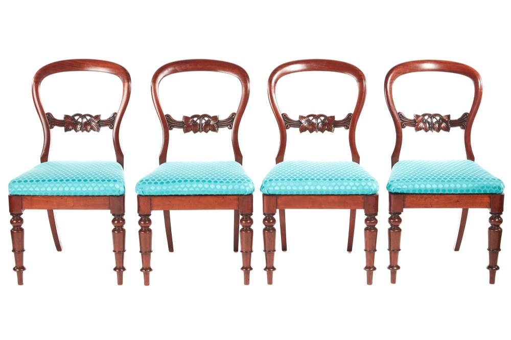 antique set of four victorian mahogany balloon back dining chai