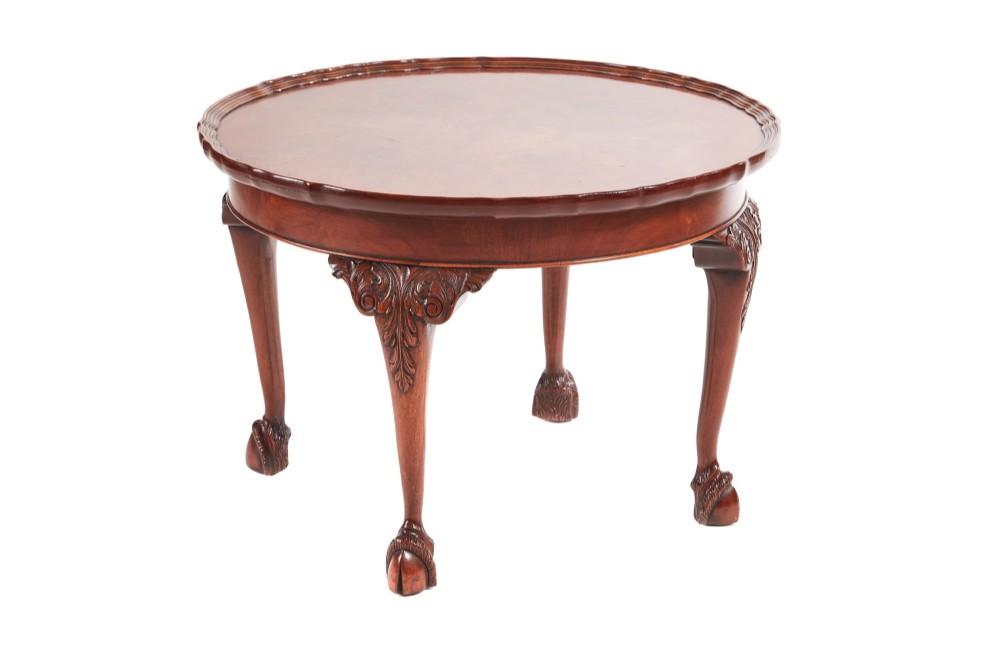 round burr walnut pie crust top coffee table c1920