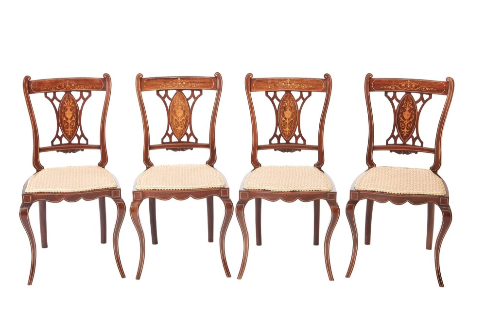 antique set of four edwardian rosewood inlaid dining chairs
