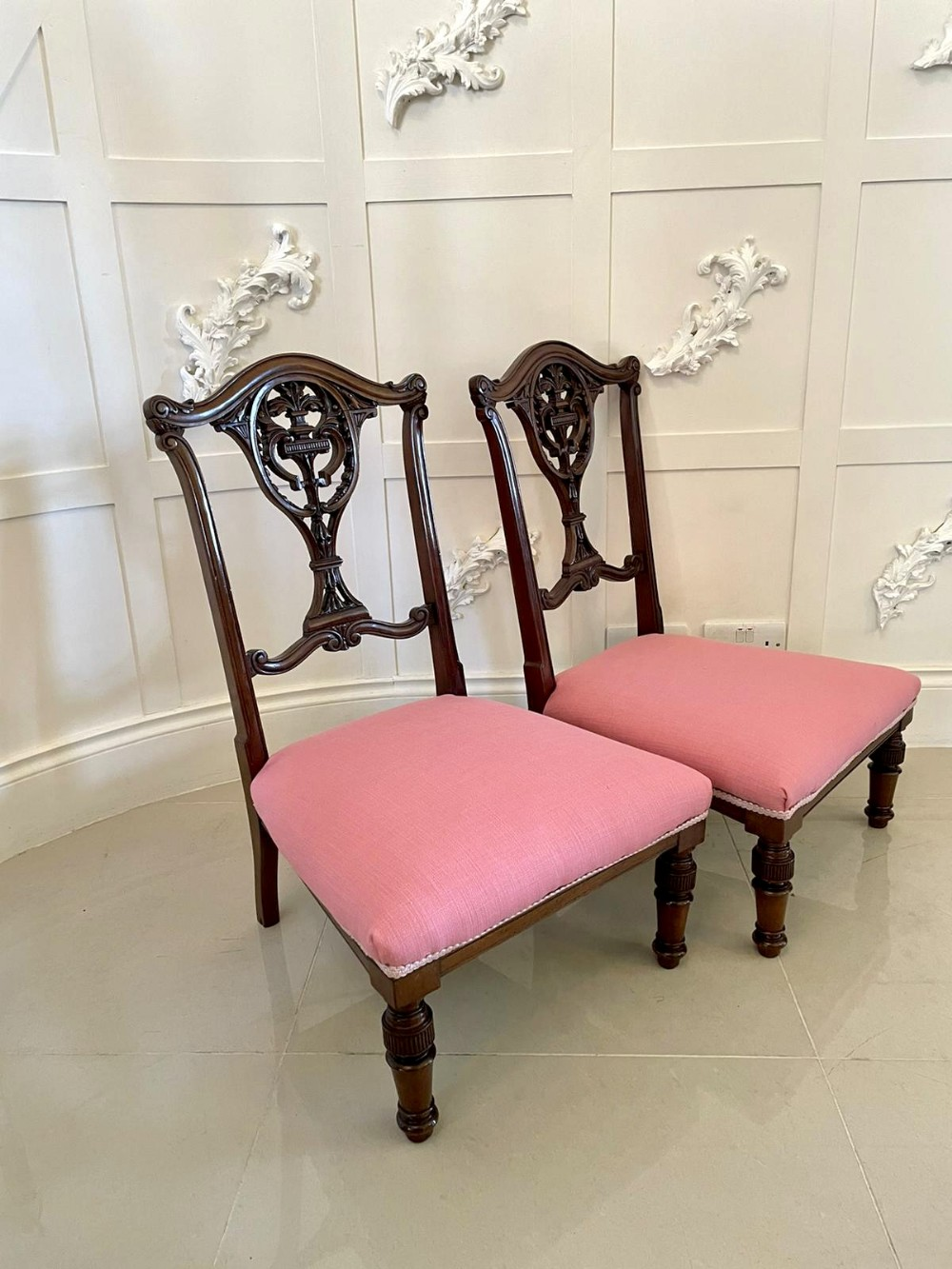 quality pair of antique victorian carved mahogany side chairs