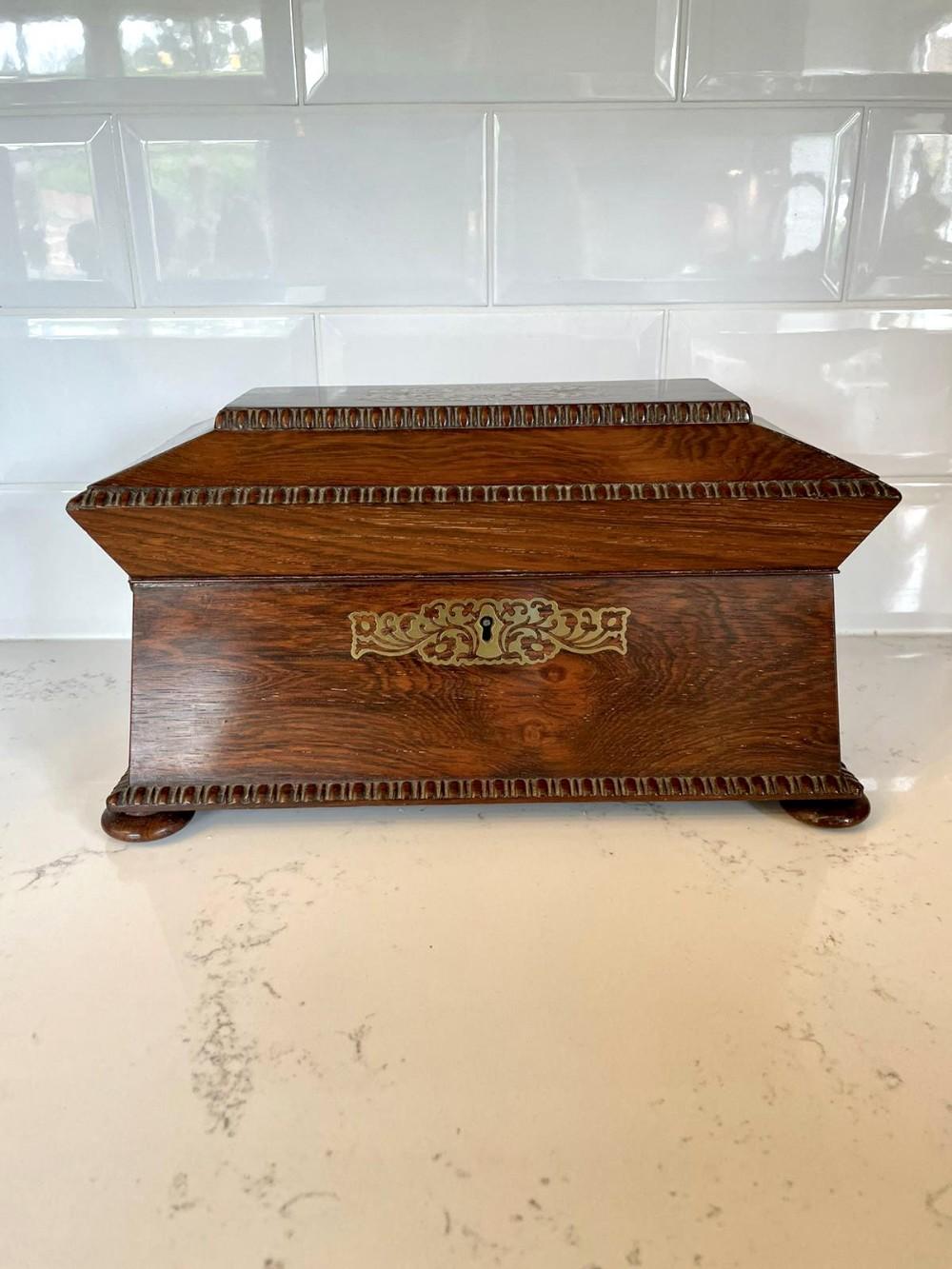 fine antique regency brass inlaid rosewood tea caddy