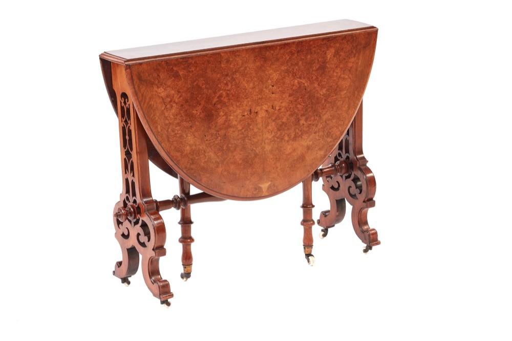 fine quality victorian burr walnut sutherland table