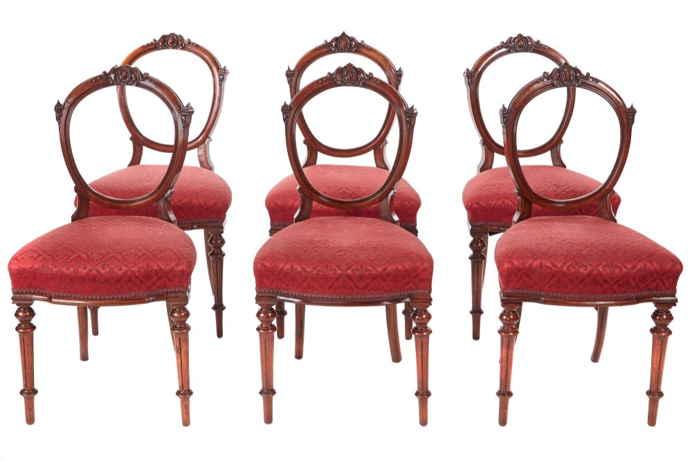 finest quality set of 6 antique victorian walnut dining chairs