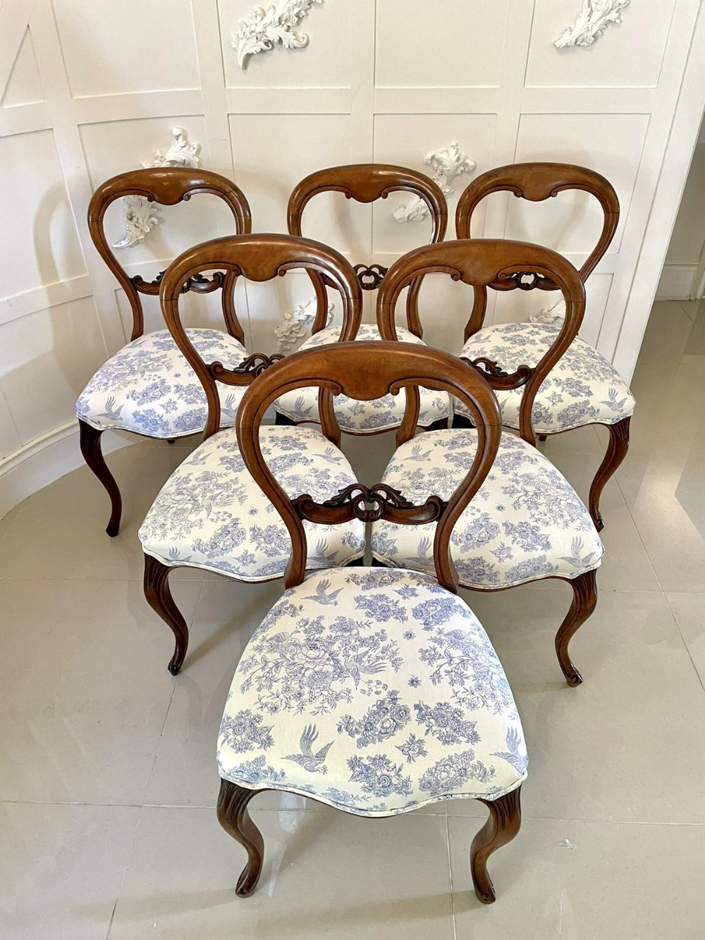 quality set of six antique victorian walnut dining chairs