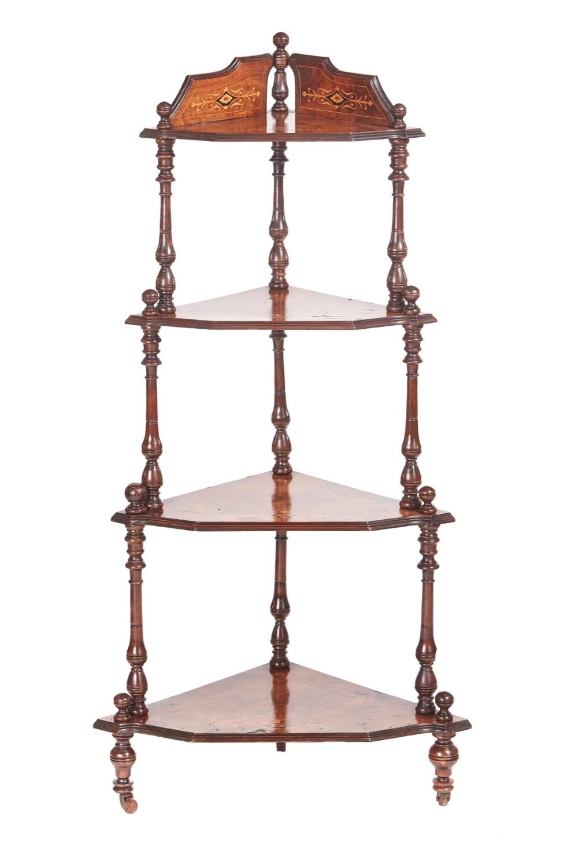 quality 19th century victorian antique inlaid burr walnut four tier corner whatnot