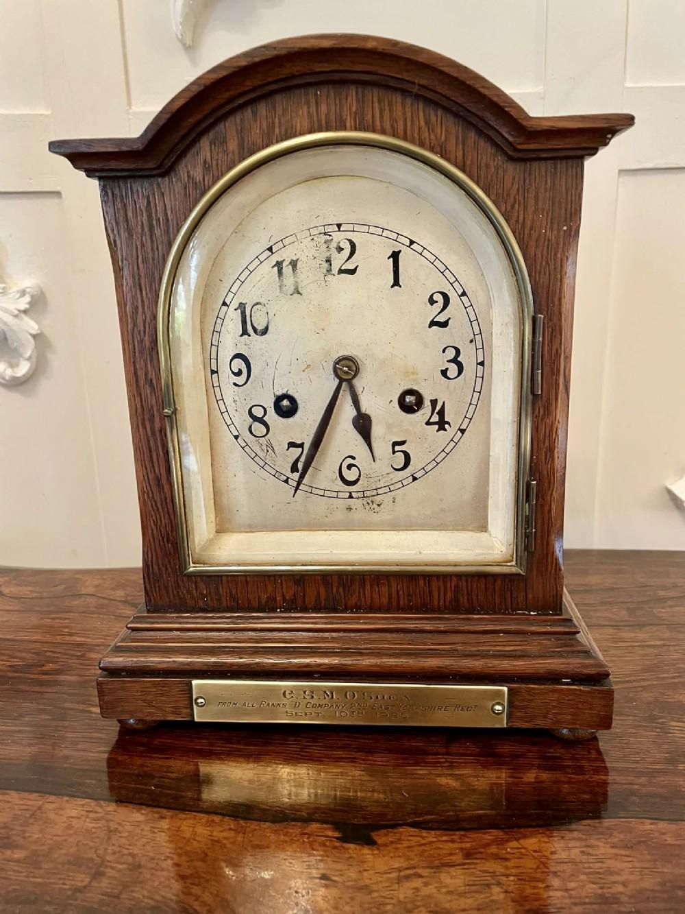 antique oak bracket clock with eight day striking movement