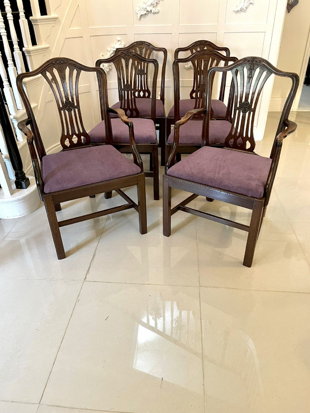 quality antique victorian set of six carved mahogany dining chairs