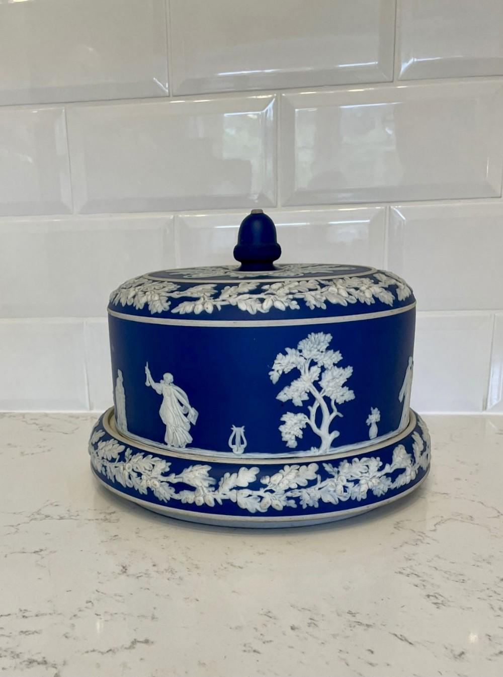 large antique blue white wedgwood jasperware cheese dish