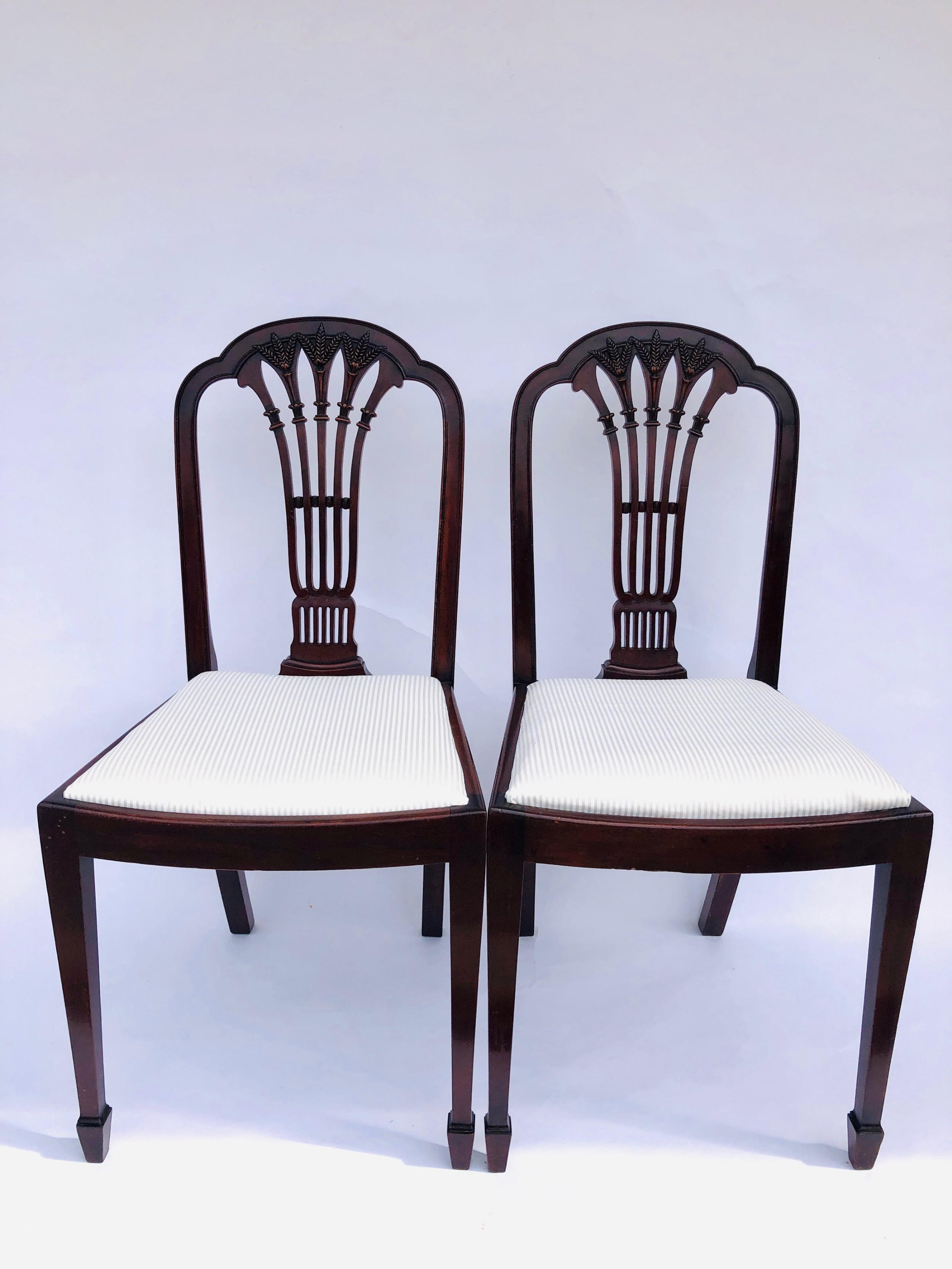 quality pair of antique mahogany carved side desk chairs