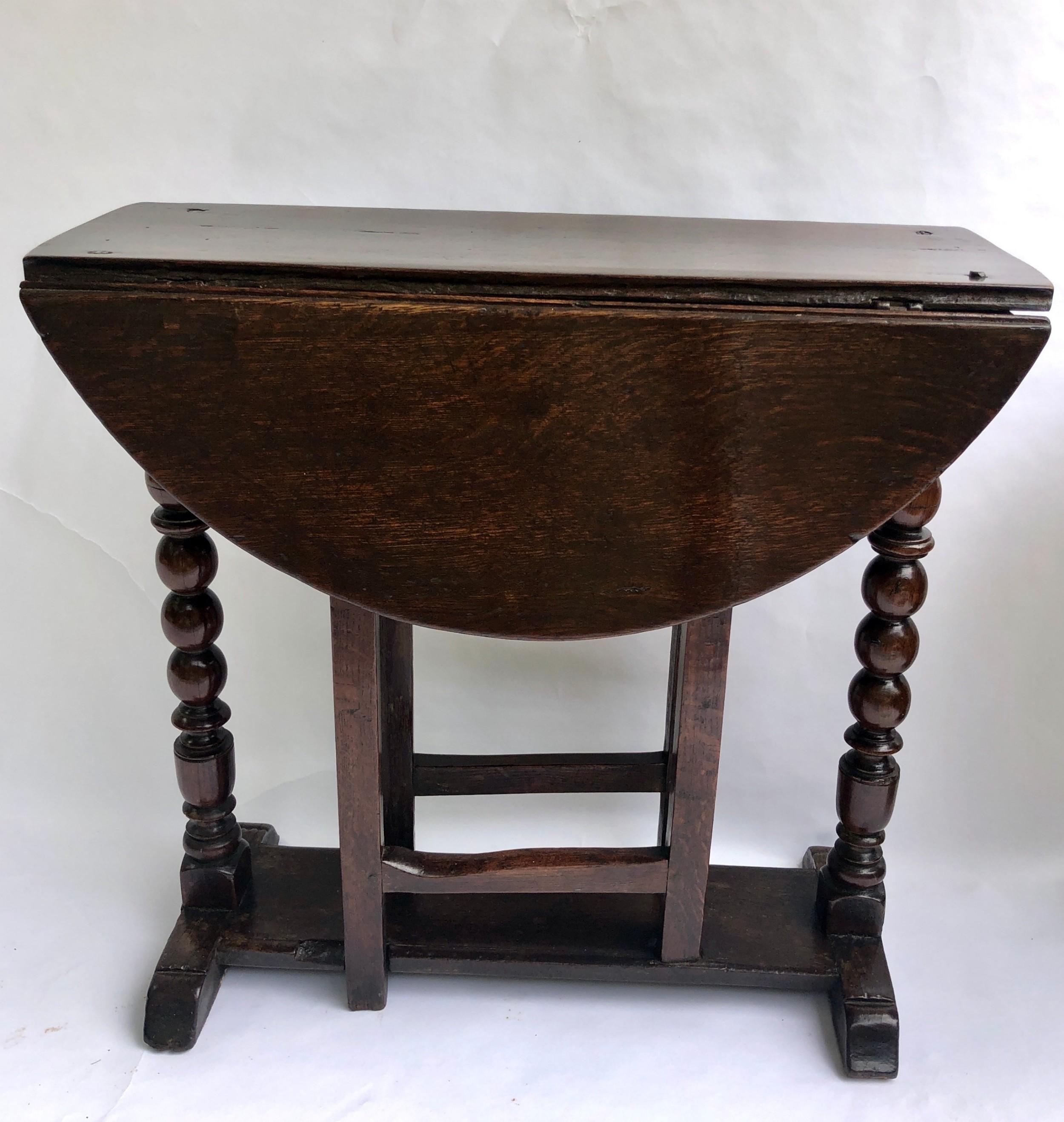 rare small antique oak gate leg table