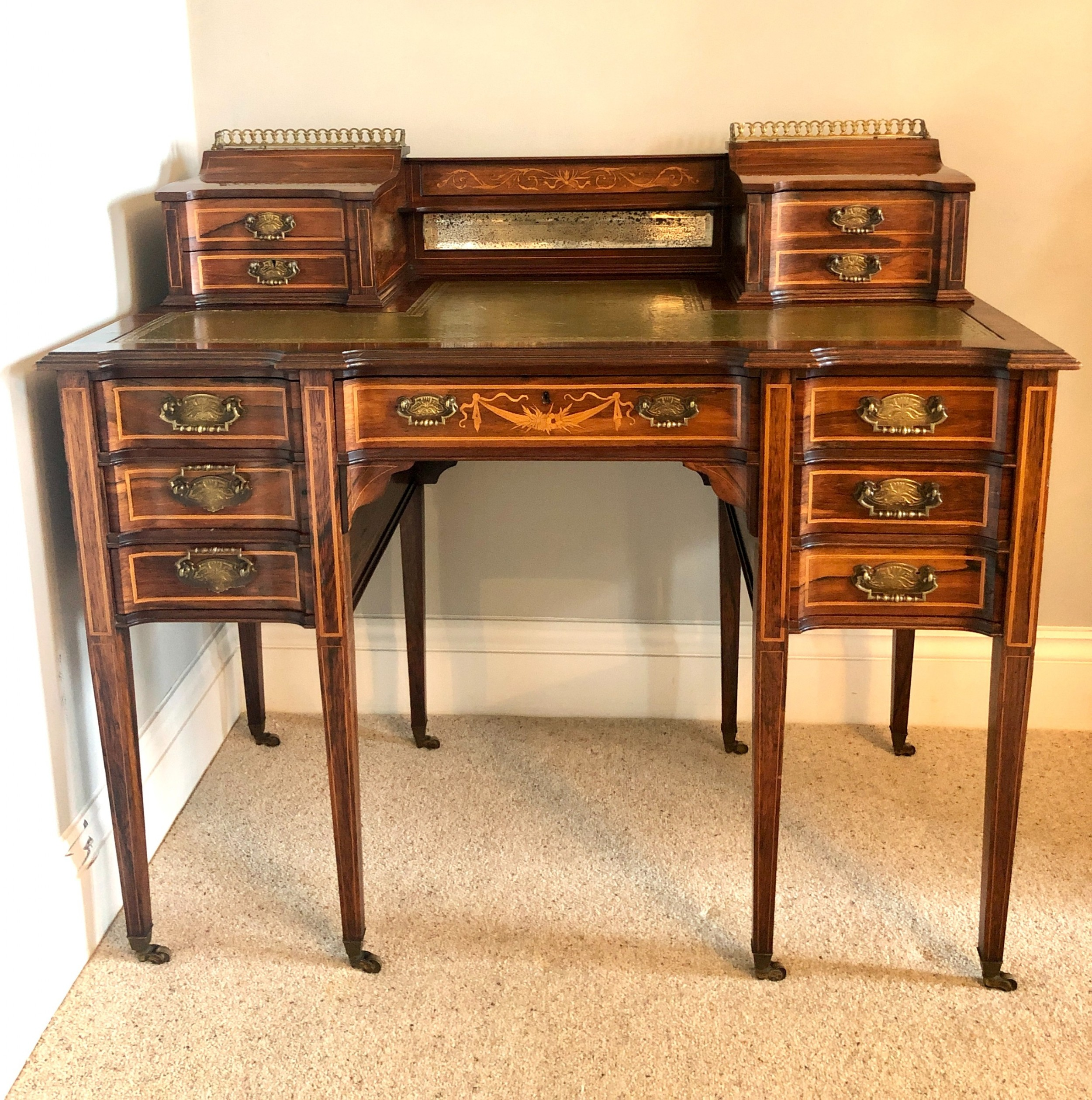 fine quality victorian rosewood freestanding maple co inlaid writing desk