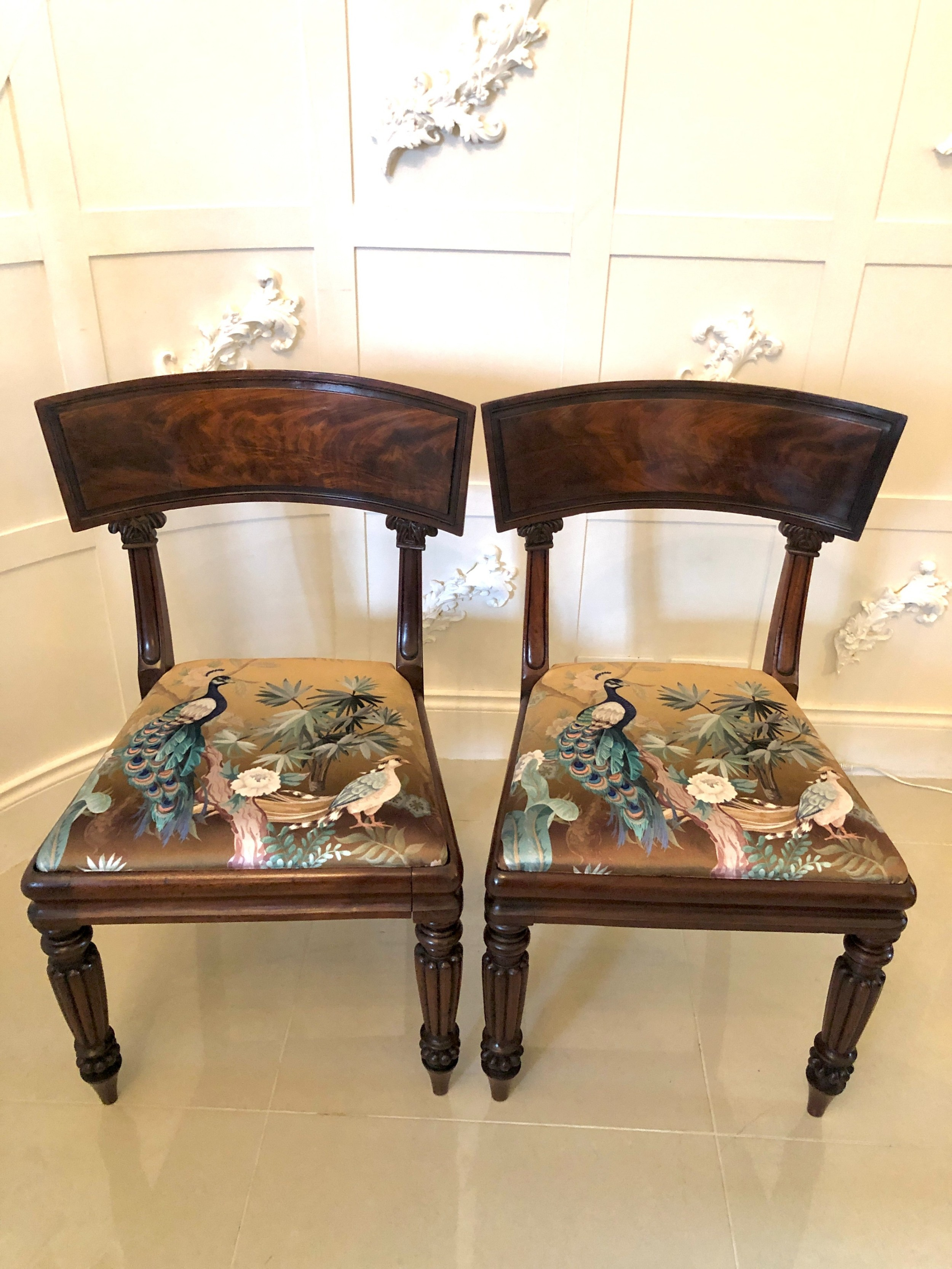 quality pair of antique mahogany regency library chairs