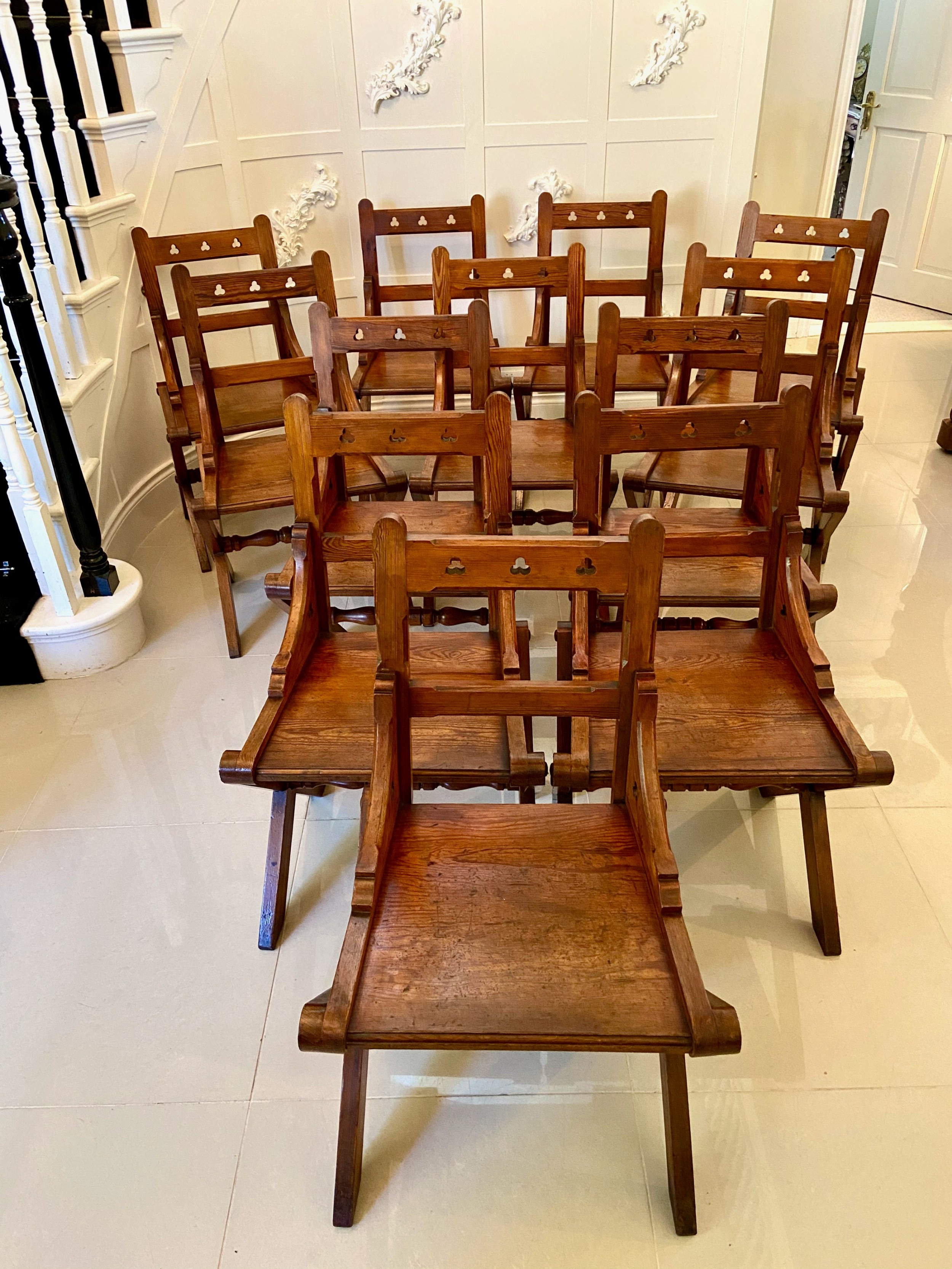 unusual antique set of twelve gothic pitch pine dining chairs