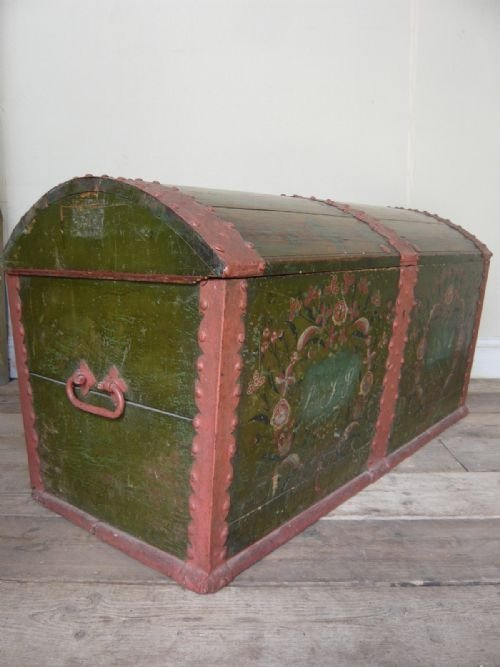 19thc dome top continental marriage chest