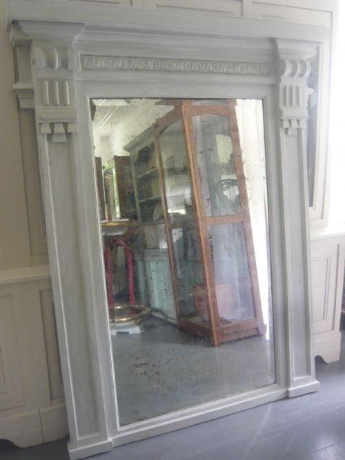 unusual large 18th century architectural painted overmantelfloorstanding oak mirror