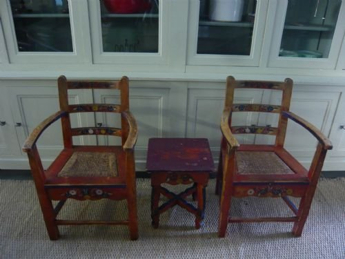 charming pair of 19th century hand painted scandinavian armchairs