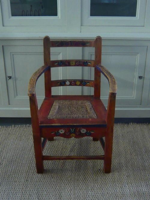 charming pair of 19th century hand painted scandinavian armchairs - photo angle #3