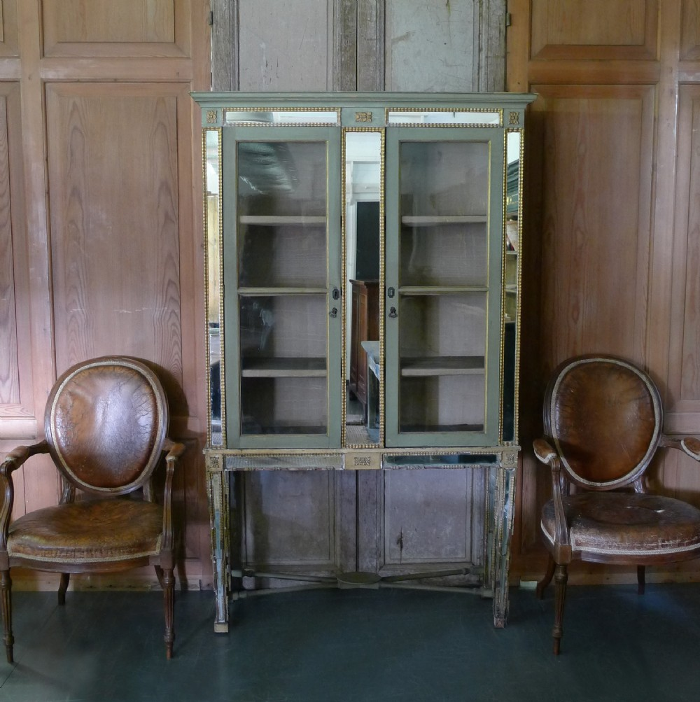19th century painted and gilt mirrored cabinet