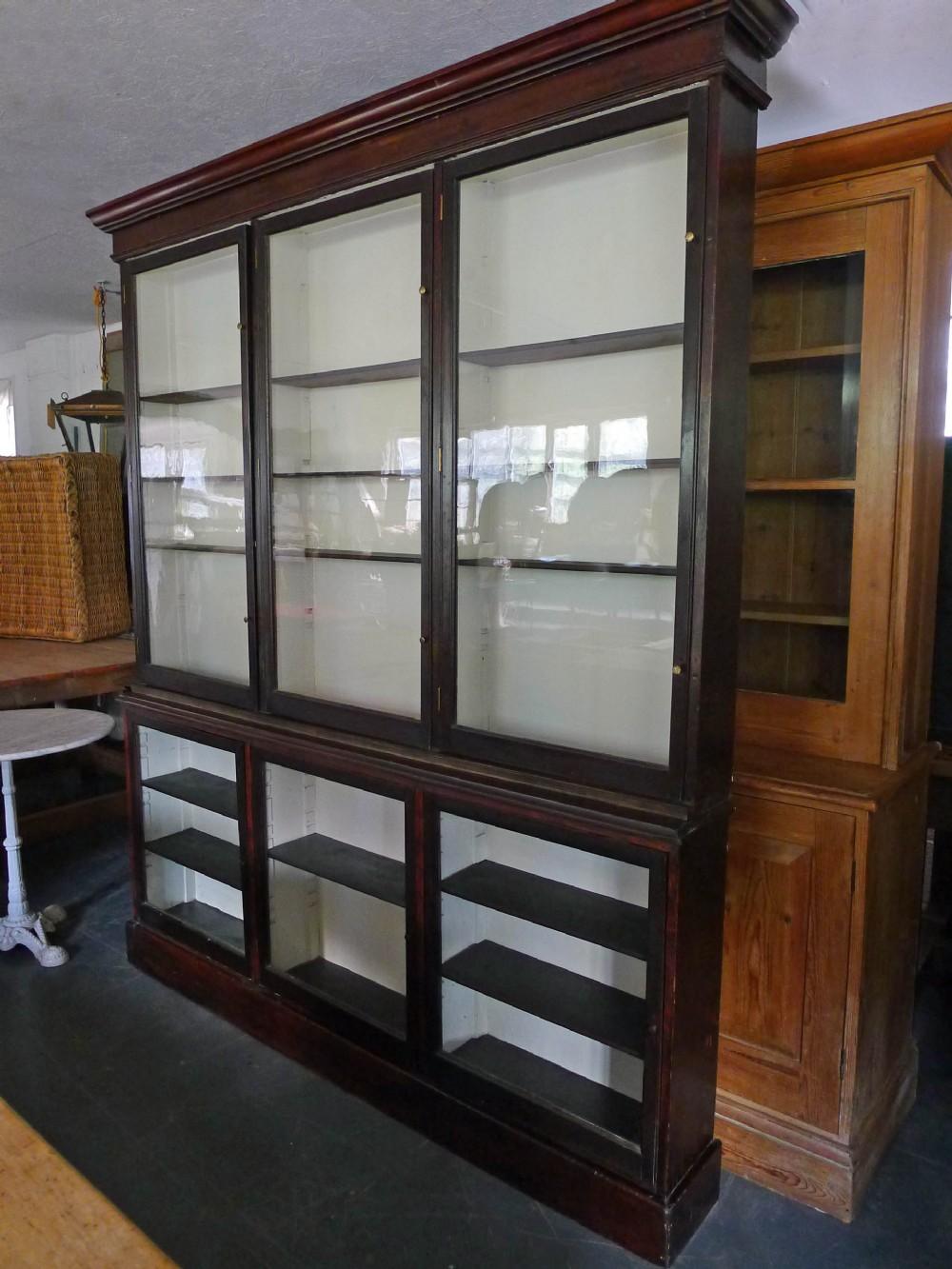 large victorian dark mahogany apothecary's cabinet bookcase