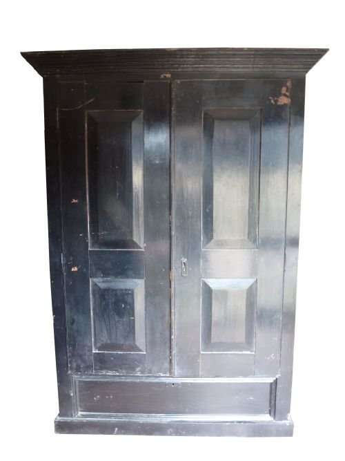 large 19th century pine painted continental armoire