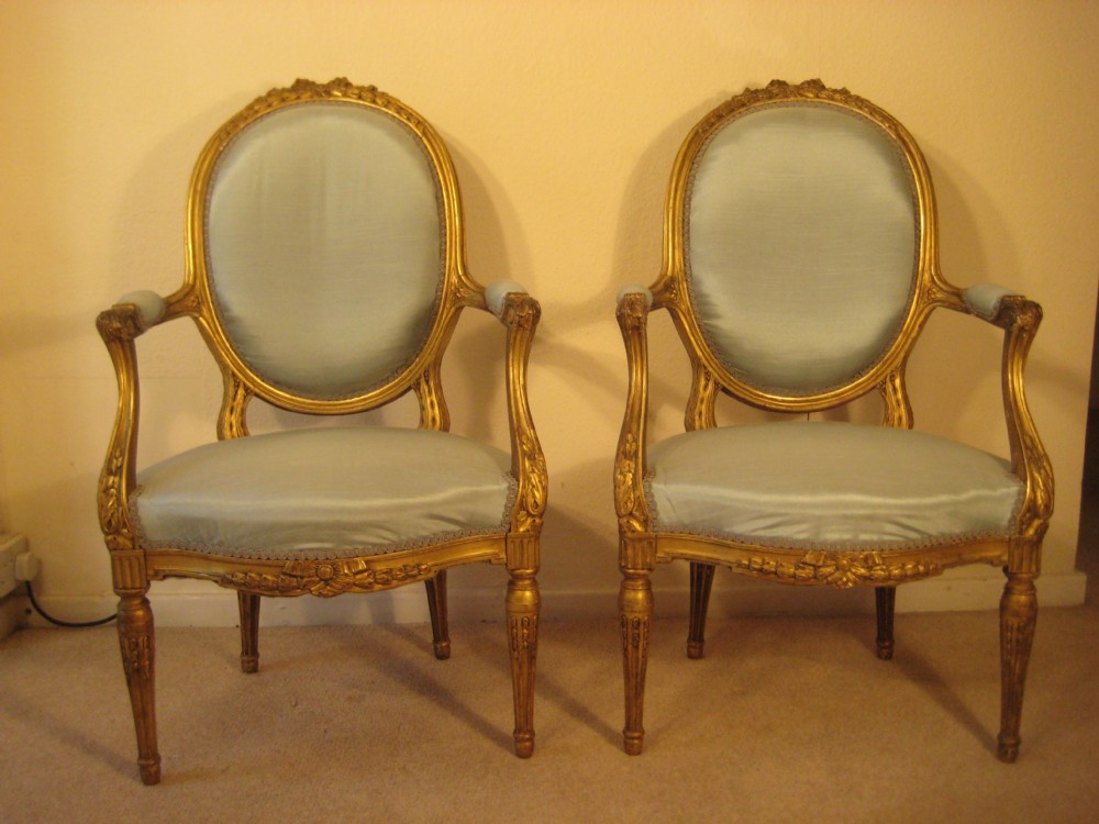 Pair French Giltwood Salon Chairs