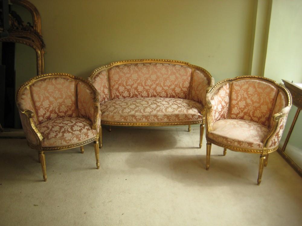 Salon Style Louis 16 #4: French Gilt Louis Xvi Style Salon Suite
