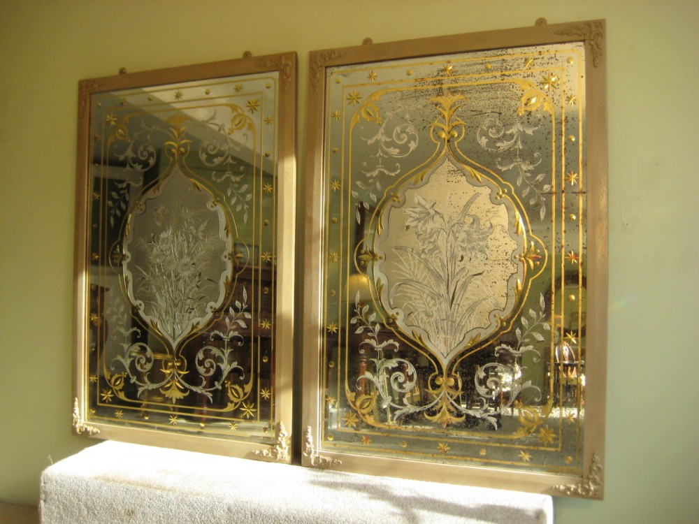 Pair Victorian Cut And Etched Glass Pub Mirrors 390421