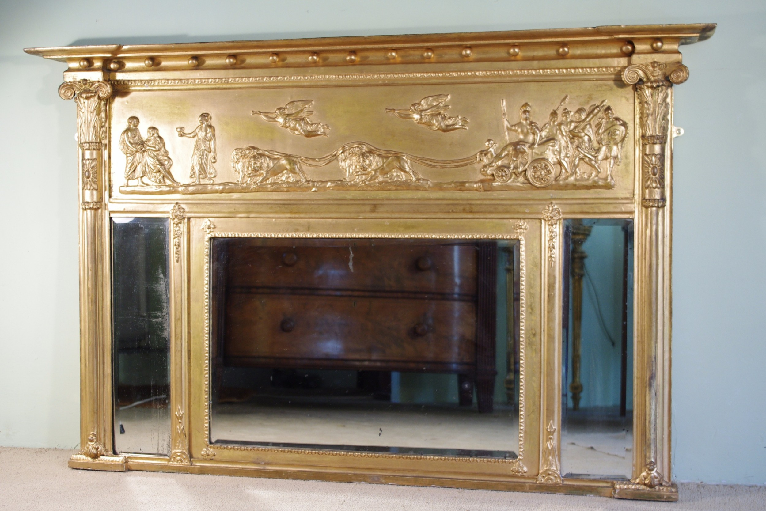 english regency style gilt tripleplate overmantle mirror