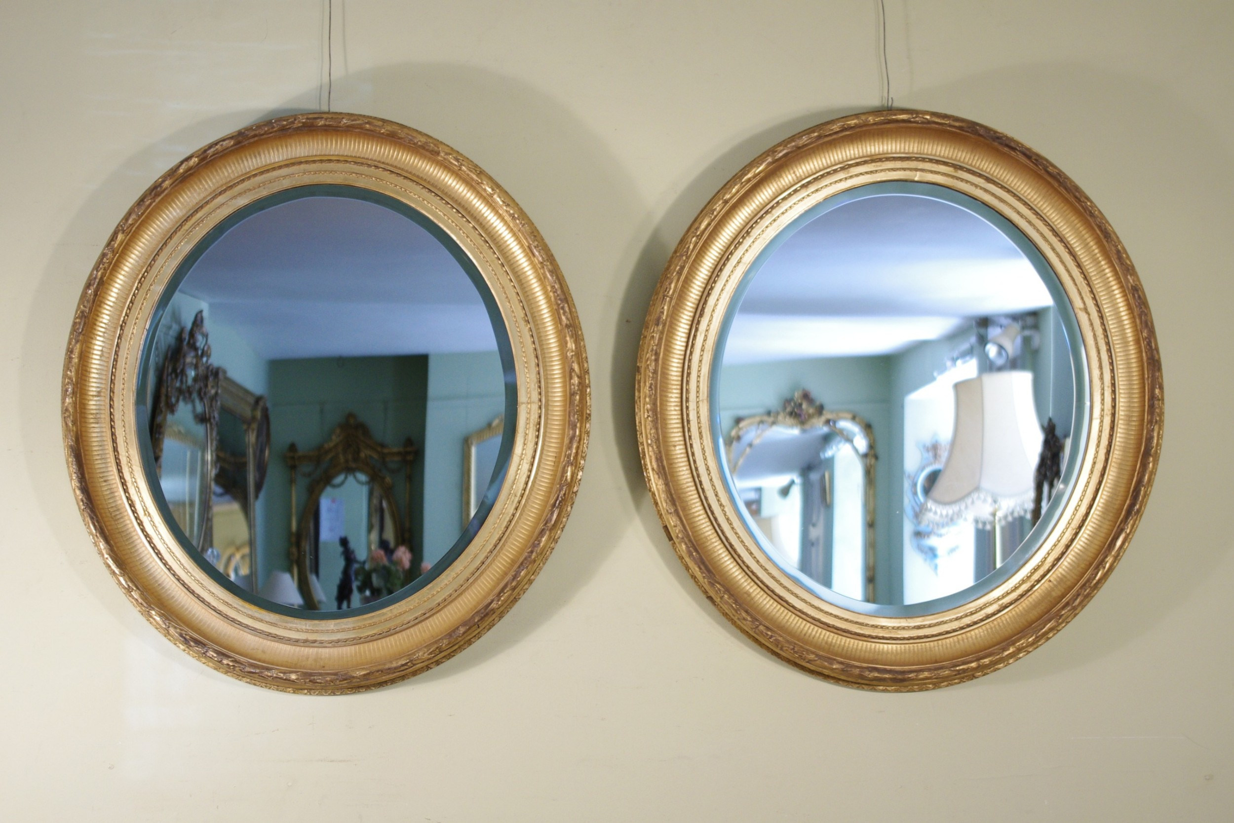 Pair English Victorian Gilt Large Oval Wall Mirrors 546598 Sellingantiques Co Uk