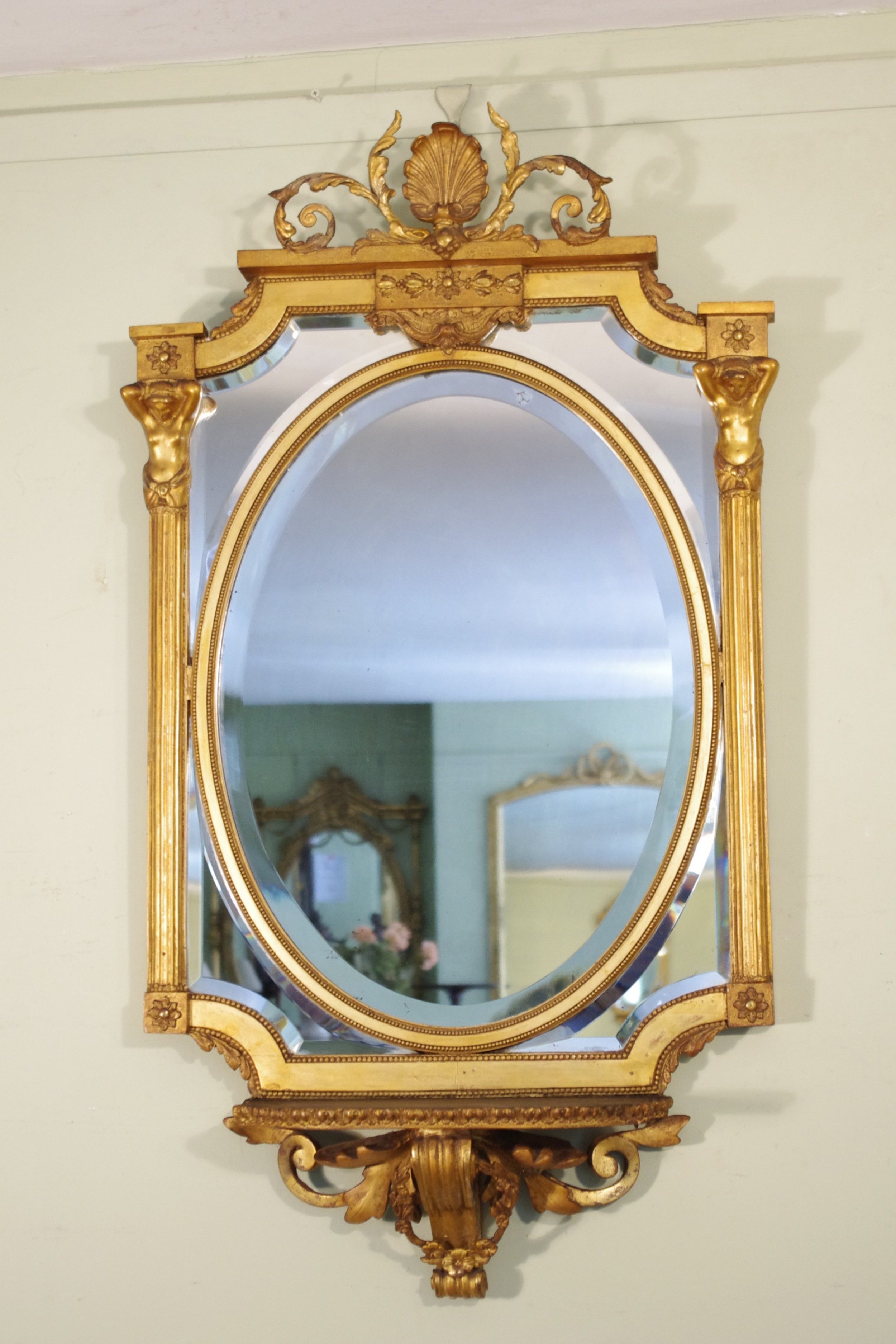 english victorian gilt large marginal wall mirror with bracket