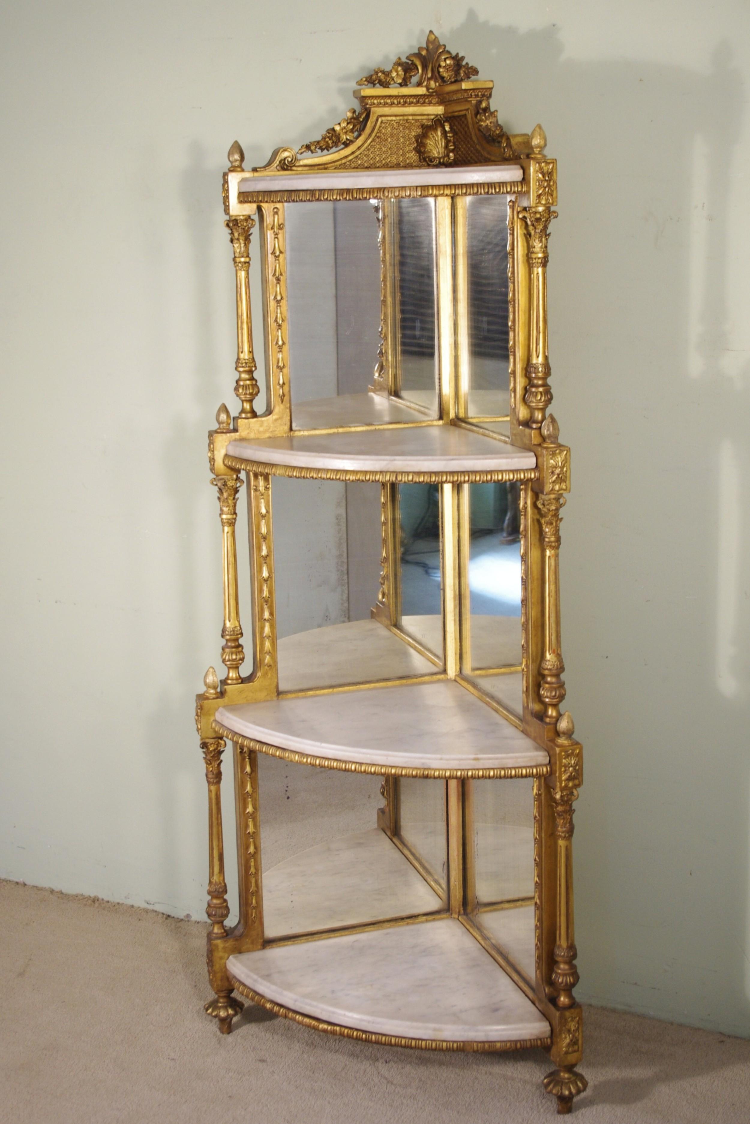 19th century gilt corner whatnotdisplay stand