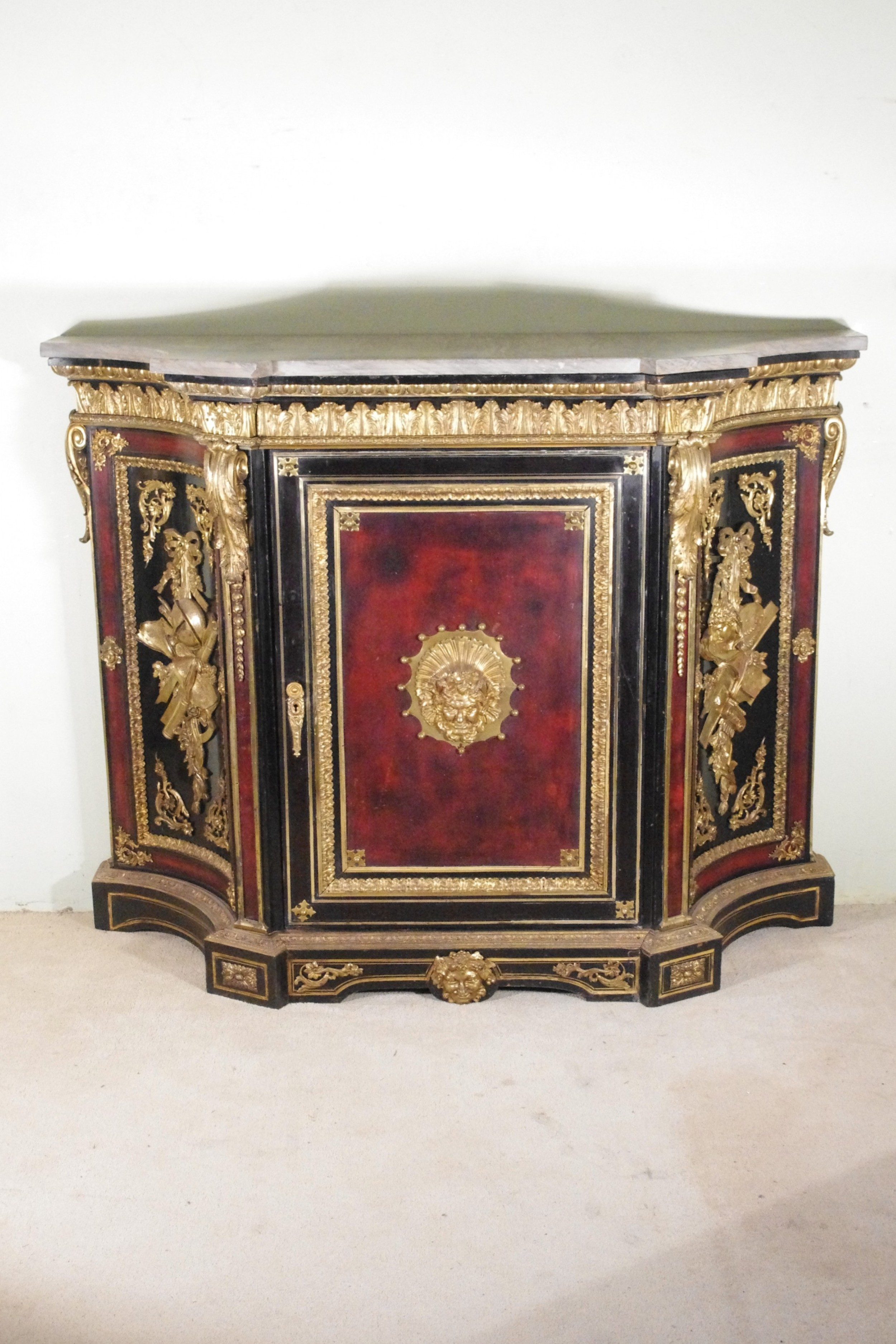 19th century french gilt metal mounted ebonised cabinet with marble top