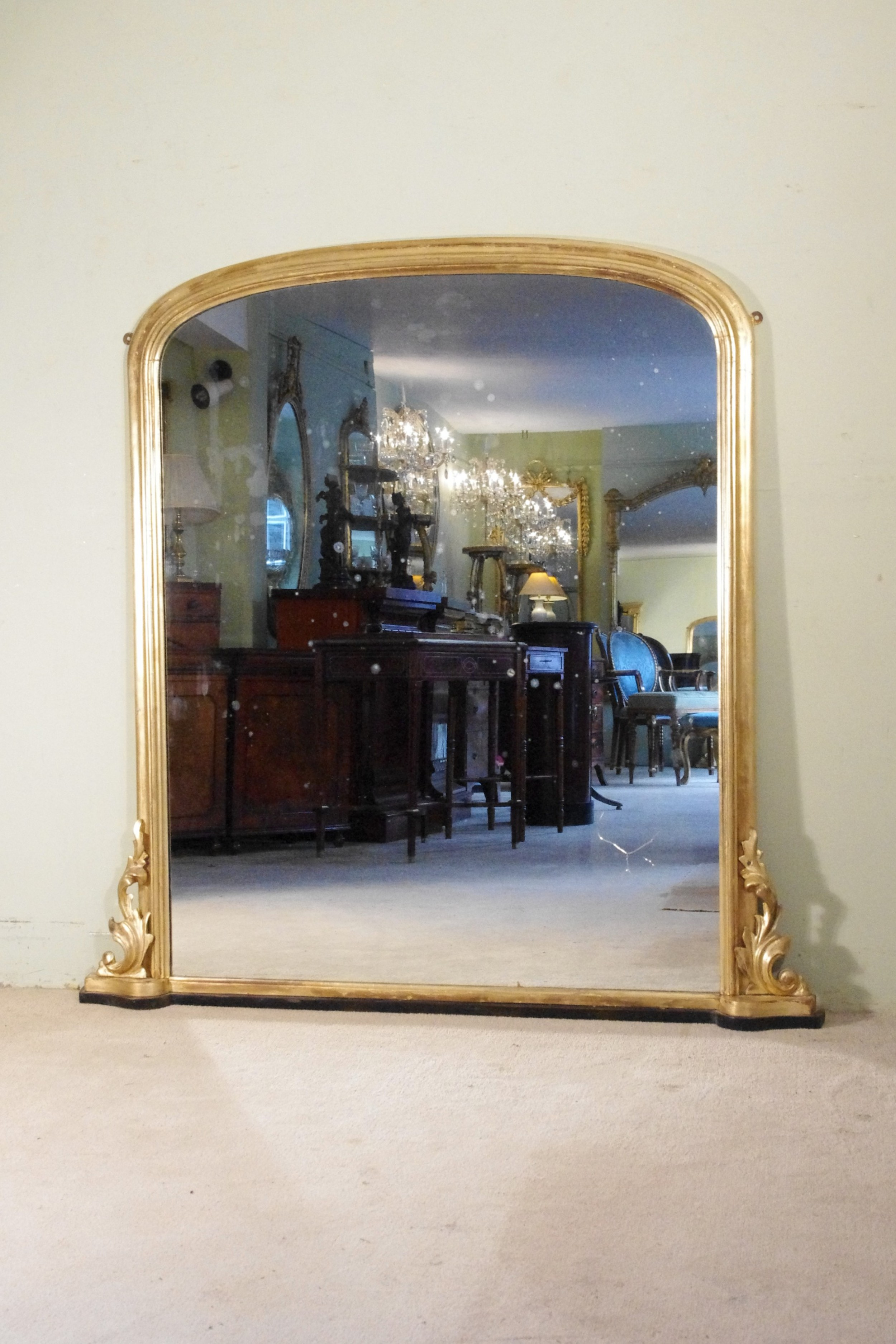 english victorian gilt large arch top overmantle mirror