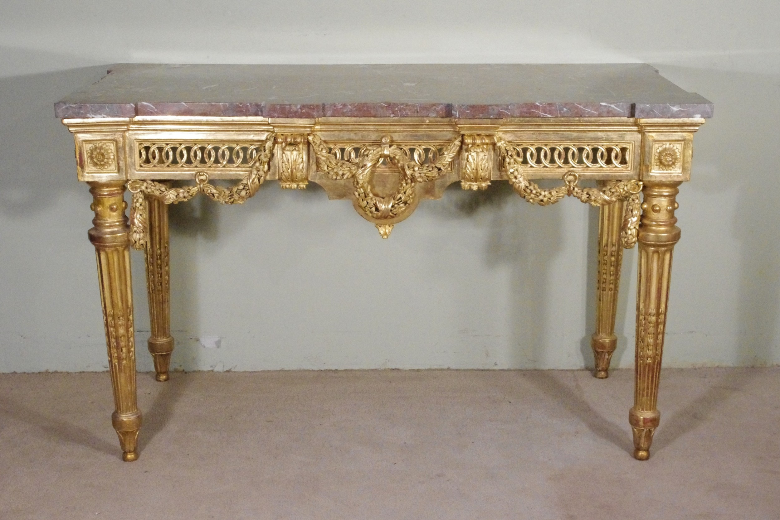 french louis xvi style gilt console table with marble top