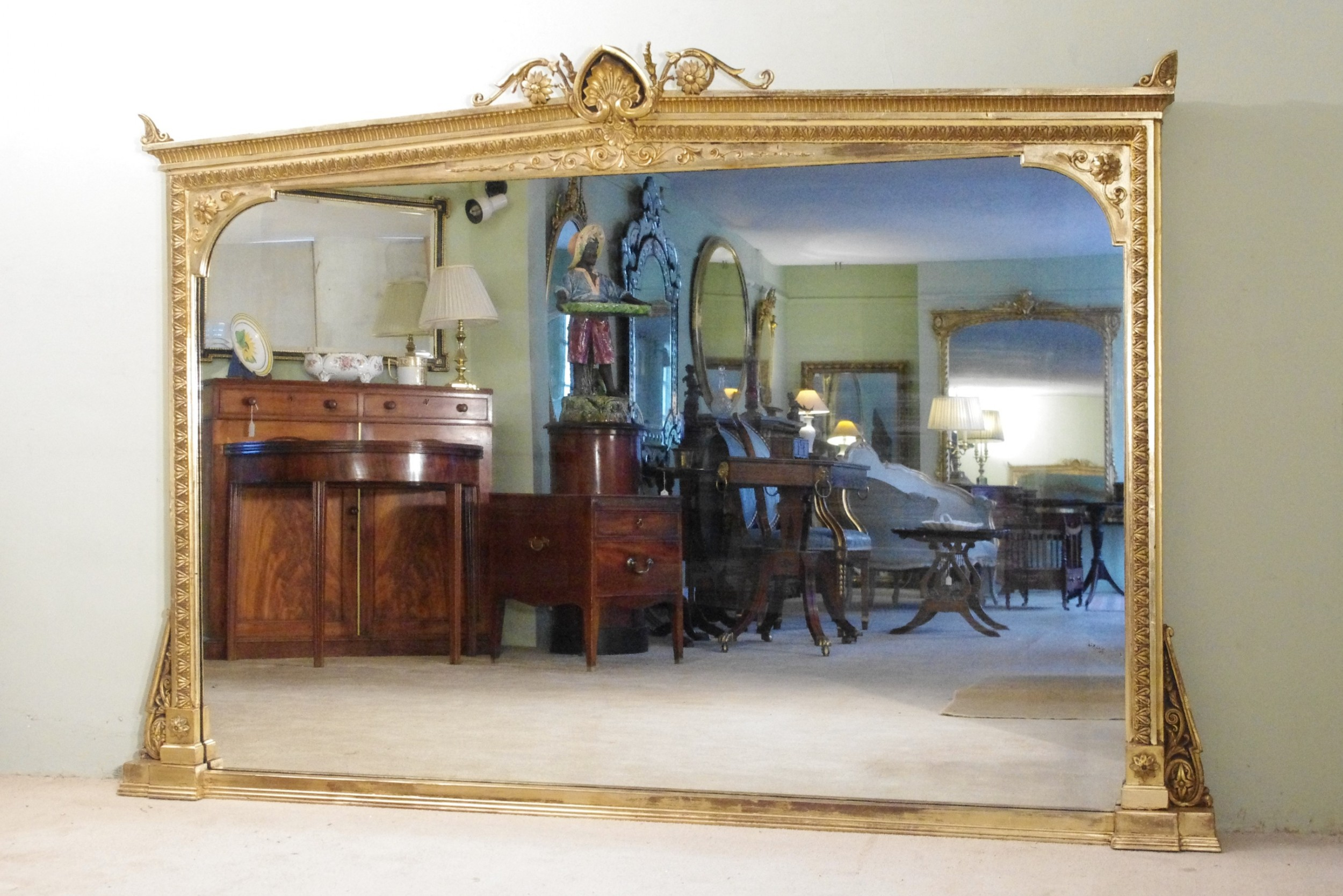 19th century english gilt very large overmantle mirror