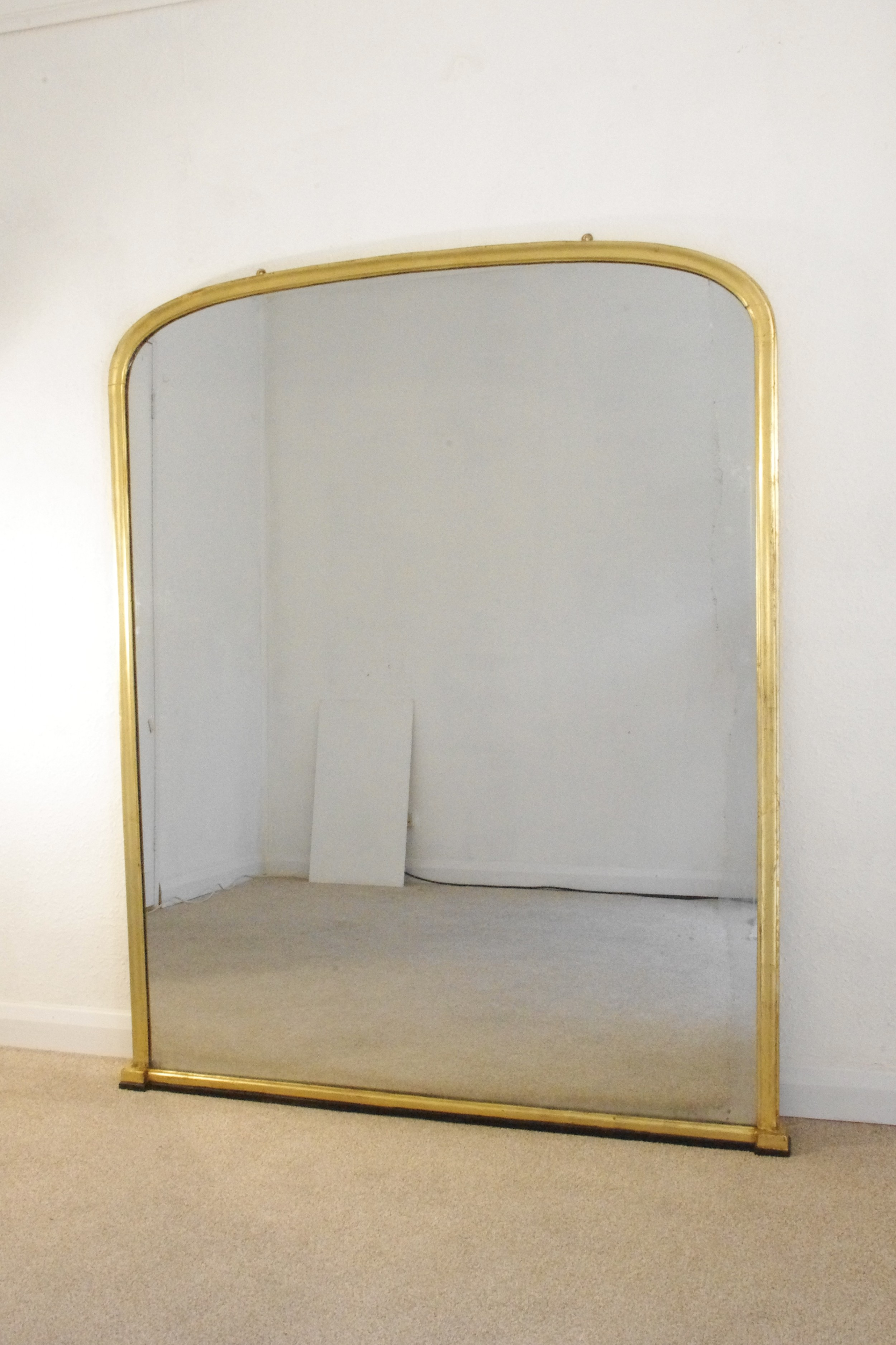 victorian gilt large arch top overmantle mirror
