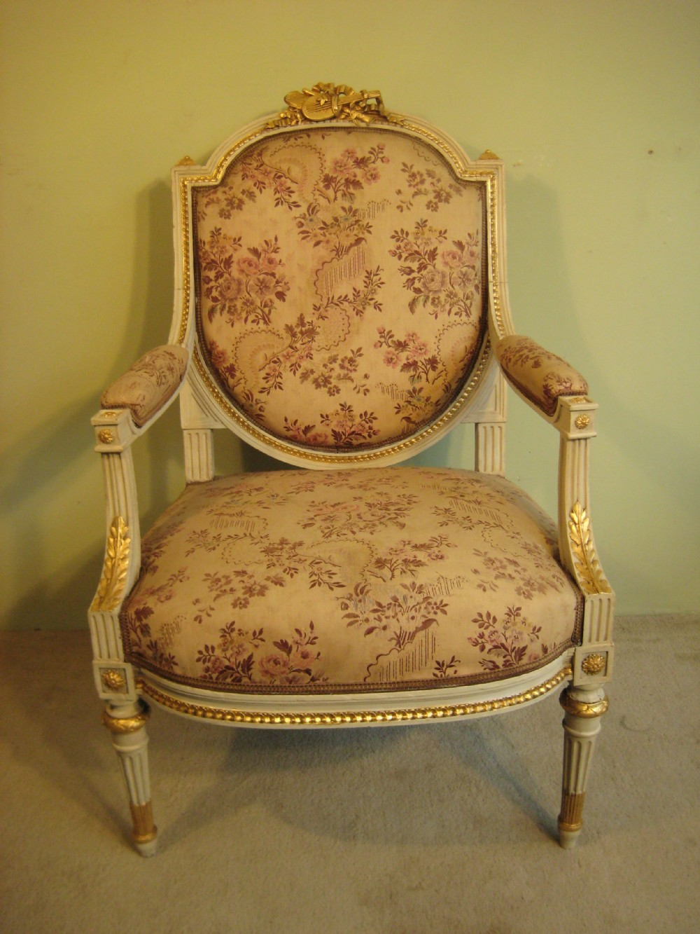 french painted louis xvi style fauteuil 259727. Black Bedroom Furniture Sets. Home Design Ideas
