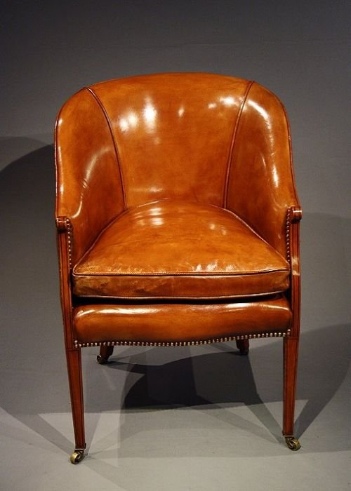 Declaration - Lovely Edwardian Antique Satinwood Leather Tub Chair 159333