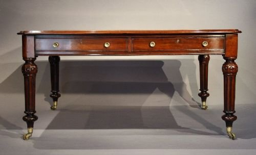 victorian mahogany partners writing table - photo angle #4