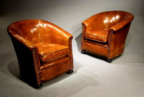 a stylish pair of 1920 s leather tub chairs 217351