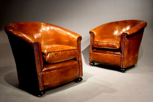 A Stylish Pair Of S Leather Tub Chairs - Tub chairs leather