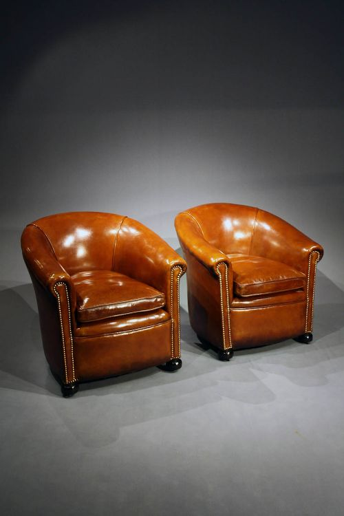 antique leather tub chairs - Antique Leather Tub Chairs 244070 Sellingantiques.co.uk